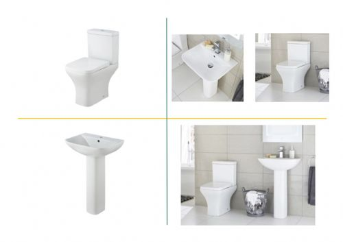 Carmela 4 Piece Toilet & Basin Bathroom Suite - 1 Tap Hole